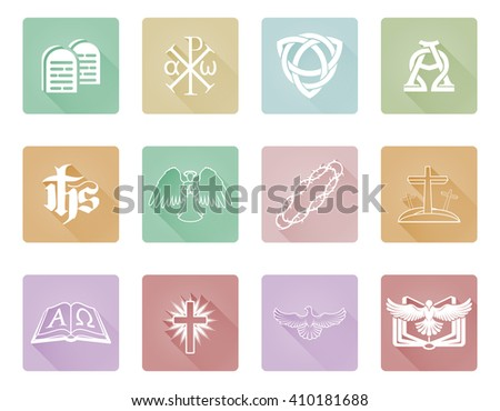A set of Christian religious icons and symbols with Chi Rho, angel, alpha omega and more - stock vector