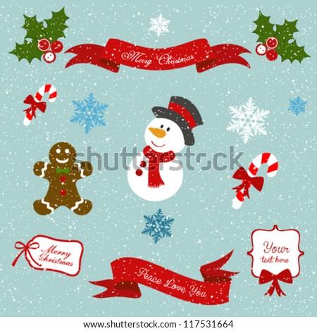 A set of Christmas design - stock vector