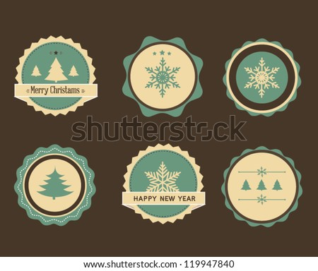 A set of Christmas design elements - stock vector