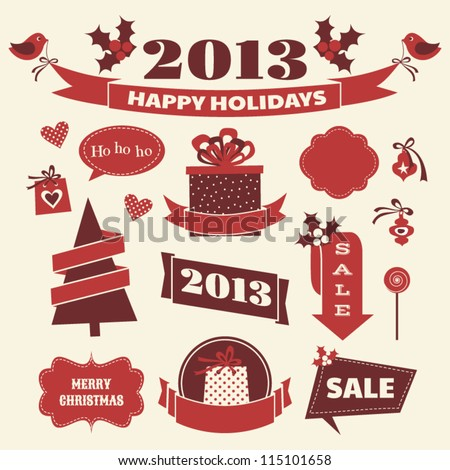 A set of Christmas design elements in vintage style. - stock vector