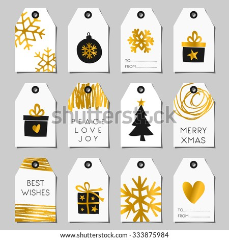 A set of Christmas gift tags in black, white and gold. Traditional Christmas elements and modern abstract designs. - stock vector