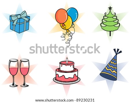 A set of Christmas icons like gift boxes, balloons, Christmas tree, cake, champagne glass & party cap for party, Christmas, New year & other occasions.