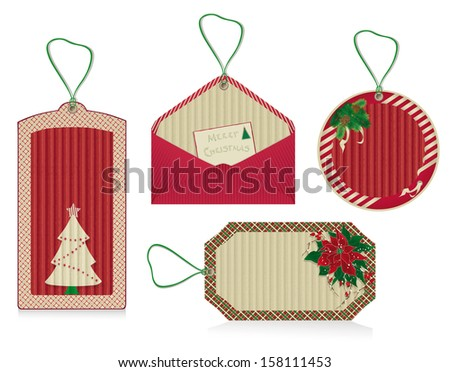 A set of Christmas red labels from kraft recycled paper.