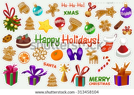 A set of Christmas stickers with objects. To cut. Vector illustration. Cute Christmas items