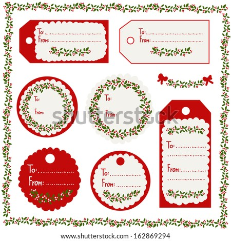 A set of Christmas vintage tags in red, white & green - stock vector