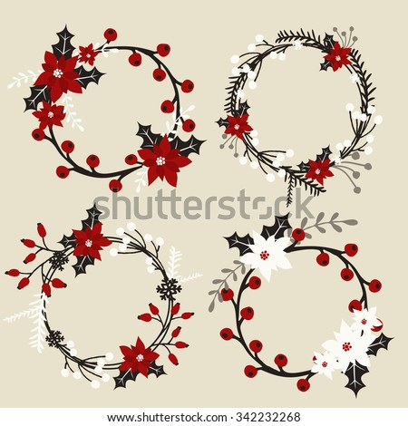 A set of Christmas wreaths with poinsettia, holly, berries, branches and leaves in white, red, gray and black. - stock vector