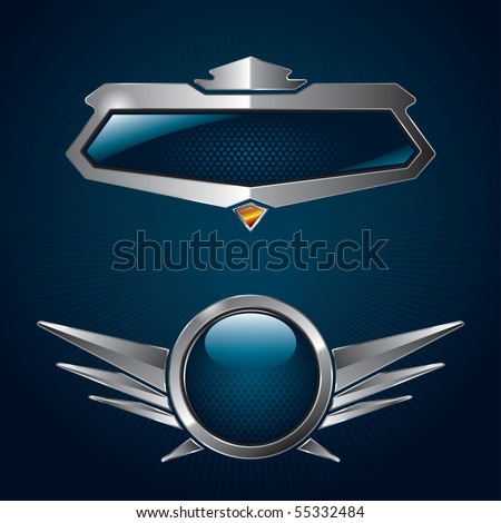 A set of chrome metallic shields for your branding templates. - stock vector