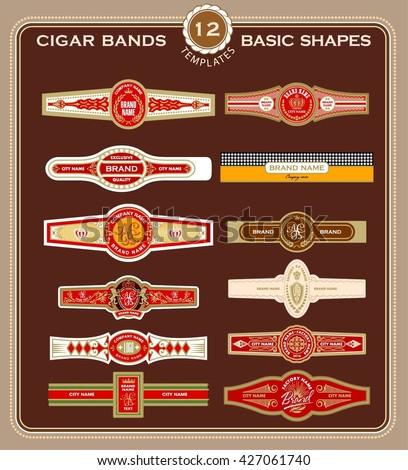 Set Cigar Band Design Templates Stock Vector Shutterstock - Cigar label template