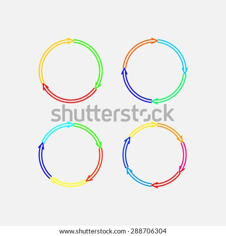 a set of circular marks, circular motion, direction of motion, fully editable vector image - stock vector