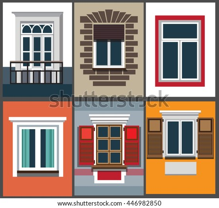 A Set Of Classic Windows For Buildings (exterior). Vector Illustration Of A  Flat