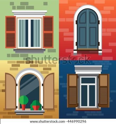 Set classic windows buildings exteriorvector illustration for Classic window design