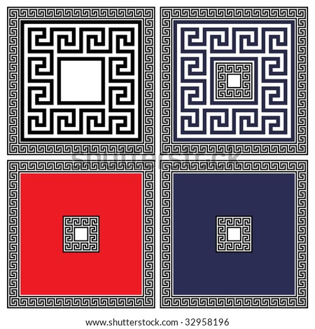 A set of classical ancient greek and roman meanders in vector format - stock vector