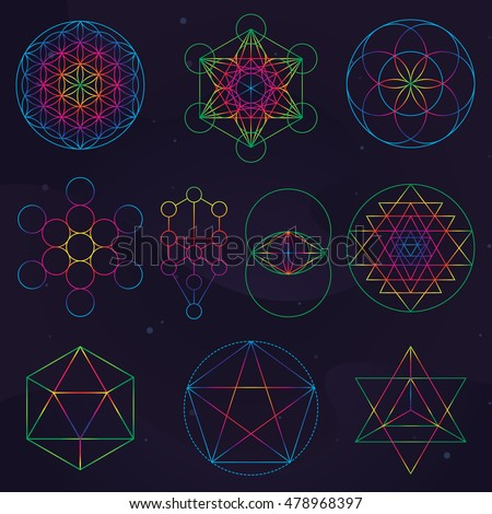 set classical sacred geometry symbols seed stock vector royalty