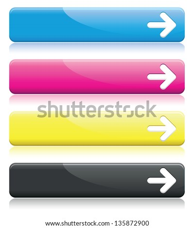 a set of cmyk arrow line banners - stock vector