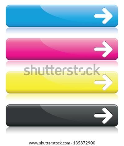 a set of cmyk arrow line banners - stock vector