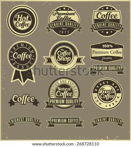 A set of coffee labels, retro-fashioned. - stock vector