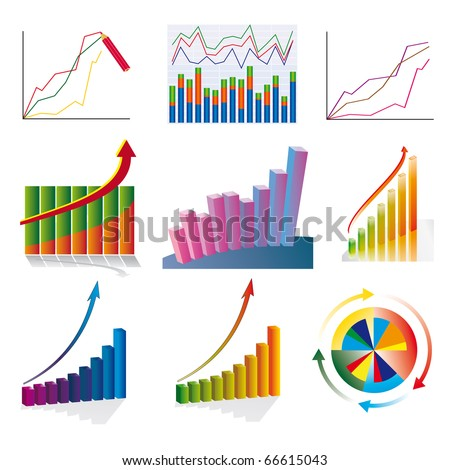 A set of color business charts. Vector illustration
