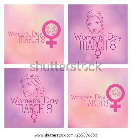 Set Colored Backgrounds Text Happy Women Stock Vector 255596653