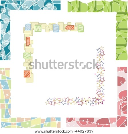A set of 6 colored border designs, vector illustration series. - stock vector