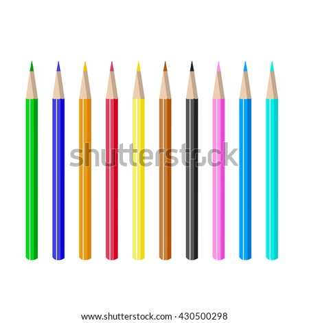 A set of colored pencils. The artist's tools. Isolated objects on white background. Vector illustration.