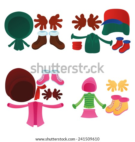 a set of colored winter clothes on a white background - stock vector