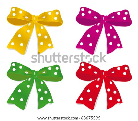 A set of colorful bows. Vector illustration