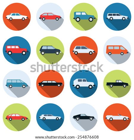 A set of colorful car vector icons. Flat design style elements collection. - stock vector