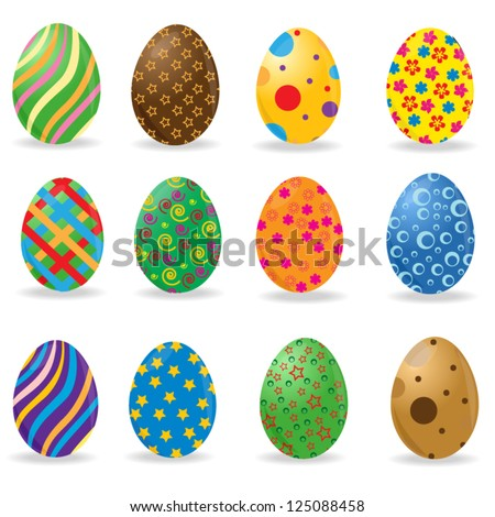 A set of 12 colorful Easter eggs