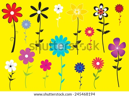 a set of colorful flower illustration on yellow background - stock vector