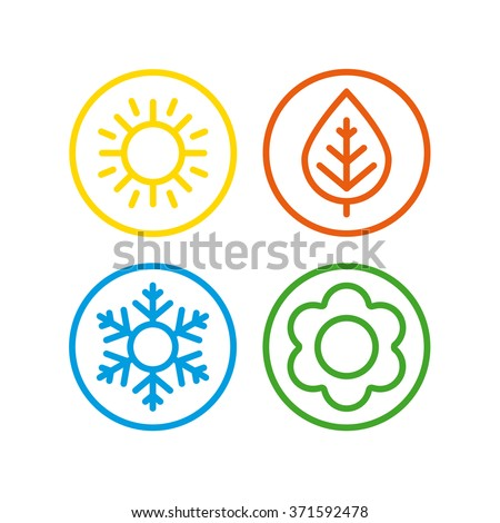 A set of colorful icons of seasons. The seasons - winter, spring, summer and autumn. - stock vector
