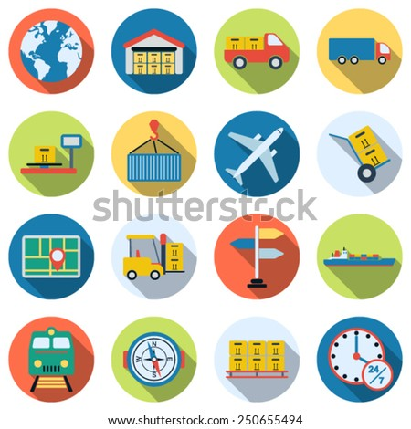 A set of colorful logistics and transportation icons. Flat design style web elements collection. - stock vector
