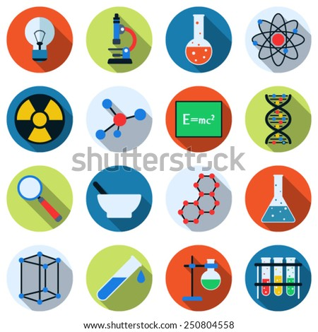A set of colorful science icons. Flat design style web elements collection. - stock vector