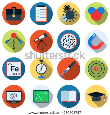 A set of colorful science icons. Flat design style web elements collection.