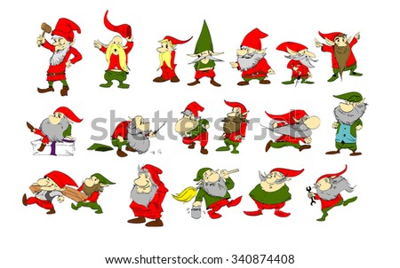 A set of colorful vector Christmas elfs illustrations. Santa's helpers of making toys and gifts.