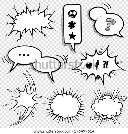 A set of comic bubbles and elements with halftone shadows. Vector file is organized with layers, with every element isolated on it's own, properly labeled layer. - stock vector