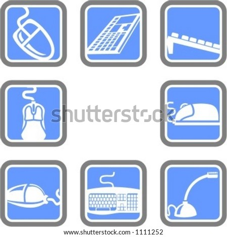 A set of 8 computer technology vector icons. - stock vector