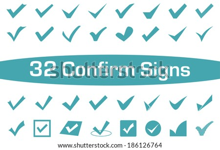 A set of 32 Confirm Signs for everyday Life's use - stock vector