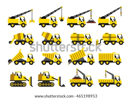 A set of construction vehicles icons in flat style.