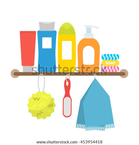 A set of cosmetic products for body and hair care. flat vector illustration