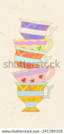 A set of cups in the background retro tea. Tribal style. Vector illustration. - stock vector