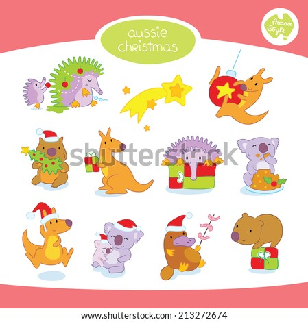 A set of cute Australian animals in various Christmas settings, including kangaroo, koala, wombat, platypus and echidna.  - stock vector