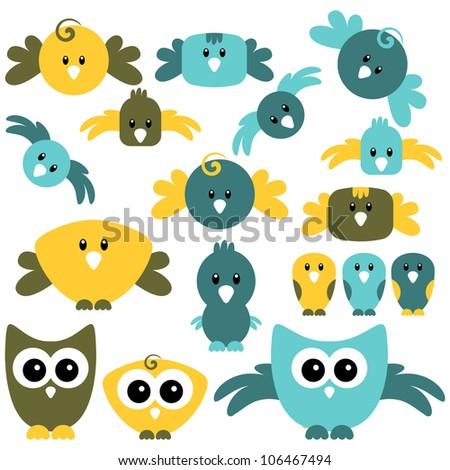 A set of cute birds - stock vector