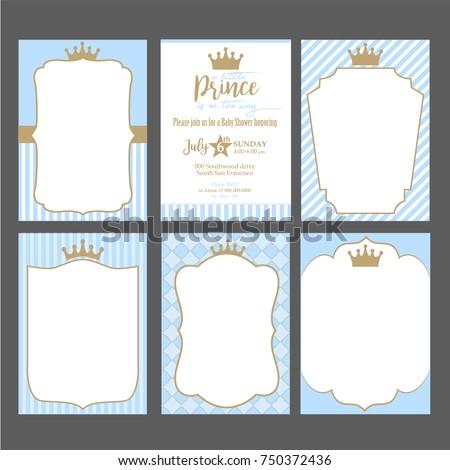 set cute blue templates invitations vintage stock vector hd royalty