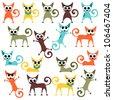 A set of cute bright cartoon cats - stock vector