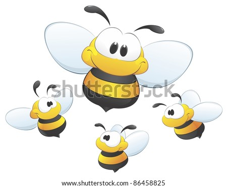 A set of cute cartoon bees. Four isolated bees for design element. - stock vector