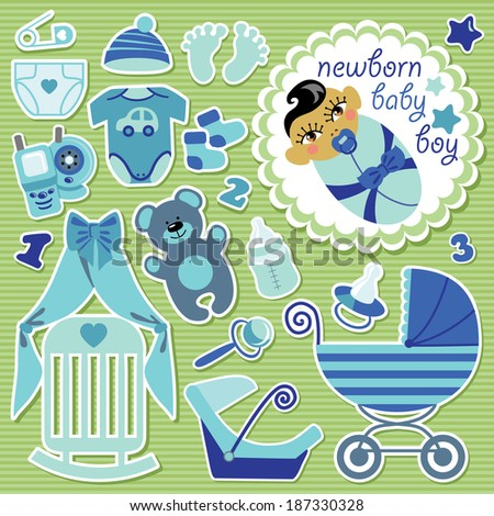 A set of cute cartoon elements for Asian newborn baby boy. Baby cartoon icons,scrapbooking elements in Strips background.Vector illustration