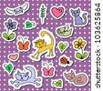 A set of cute cartoon stickers - stock vector