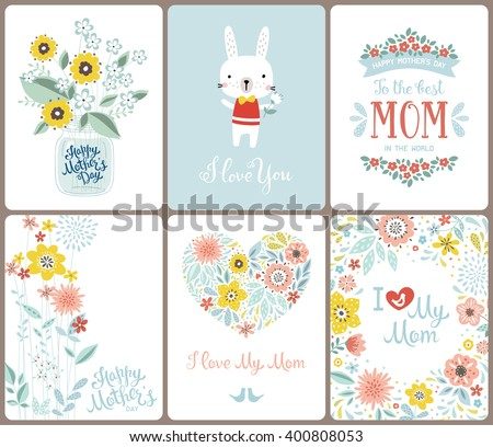 Set cute greeting cards mothers day stock photo photo vector a set of cute greeting cards for mothers day with flowers floral heart birds m4hsunfo Images