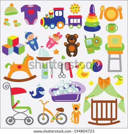 A set of cute items for little Baby.Baby cartoon icons for girl and boys.Baby shower  design elements.