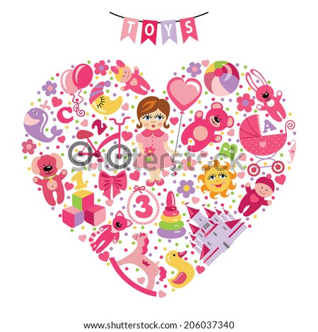 A set of cute items of toys for  little girl .Composition in the form of heart.Vector design elements. - stock vector
